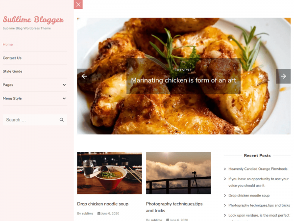 Sublime Blogger free wordpress theme
