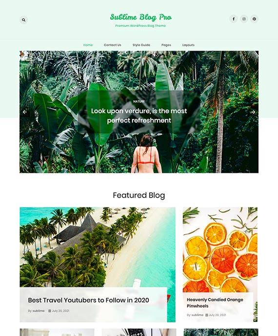 Premium WordPress Blog Theme - Sublime Blog Pro Thumbnail Preview